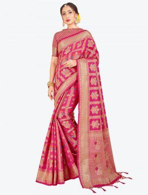 Dark Pink Banarasi Art Silk Designer Saree small FABSA20554