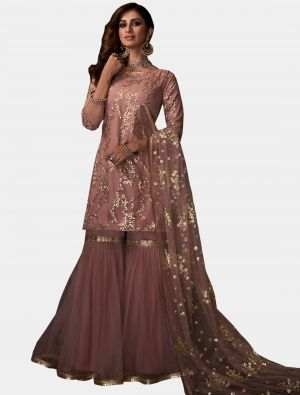 Dusty Pink Net Sharara Suit with Dupatta small FABSL20189