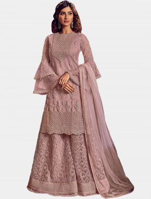 Dusty Pink Net Sharara Suit with Dupatta small FABSL20199