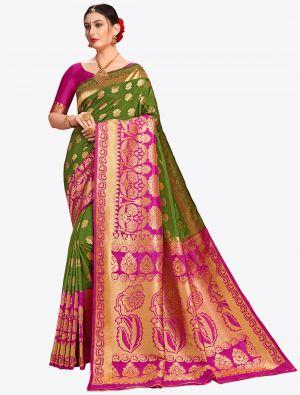 Green Banarasi Art Silk Designer Saree small FABSA20563