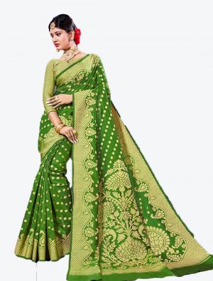 Green Handloom Cotton Designer Saree small FABSA20621