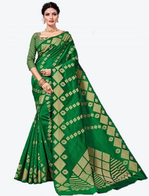 Green Handloom Cotton Designer Saree small FABSA20623