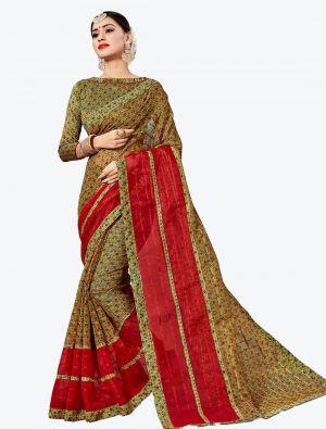 Green Kota Silk Designer Saree small FABSA20630