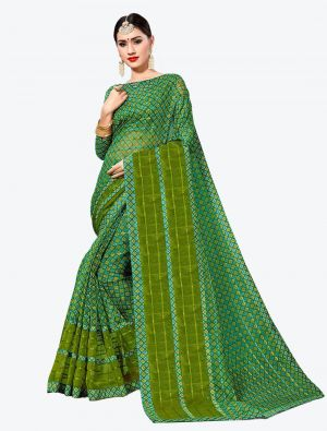 Green Kota Silk Designer Saree small FABSA20634