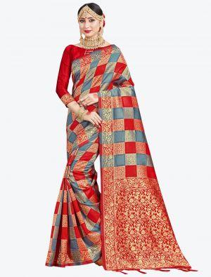 Grey and Red Banarasi Art Silk Designer Saree small FABSA20538