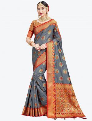 Grey Banarasi Art Silk Designer Saree small FABSA20553