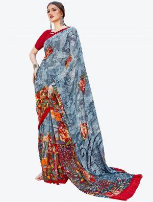 Grey Georgette Designer Saree small FABSA20589