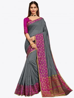 Grey Khadi Silk Designer Saree small FABSA20568