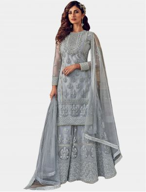 Grey Net Sharara Suit with Dupatta small FABSL20205
