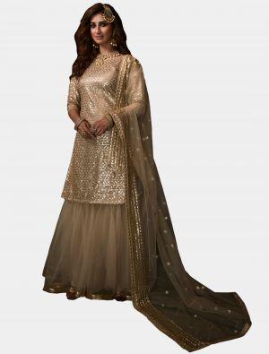 Light Cream Net Sharara Suit with Dupatta small FABSL20185