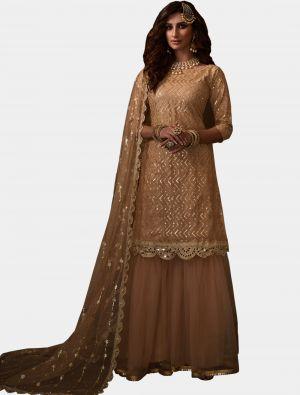 Light Peach Net Sharara Suit with Dupatta small FABSL20186