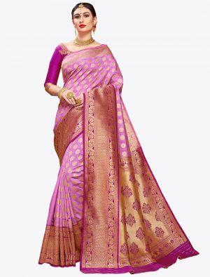 Lilac Banarasi Art Silk Designer Saree small FABSA20564