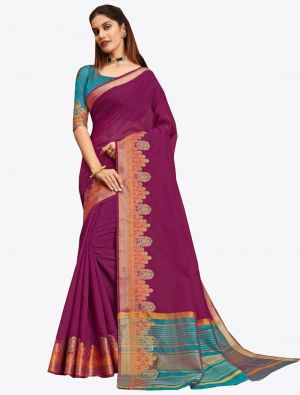 Magenta Pink Khadi Silk Designer Saree small FABSA20571