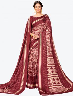 Maroon Pashmina Designer Saree small FABSA20603