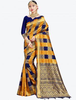 Mustard Yellow and Navy Blue Banarasi Art Silk Designer Saree small FABSA20540