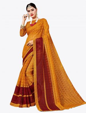 Mustard Yellow Kota Silk Designer Saree small FABSA20631