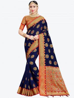Navy Blue Banarasi Art Silk Designer Saree small FABSA20550