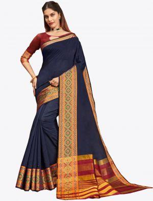 Navy Blue Khadi Silk Designer Saree small FABSA20566