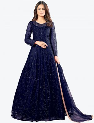Navy Blue Net Floor Length Suit with Dupatta small FABSL20180