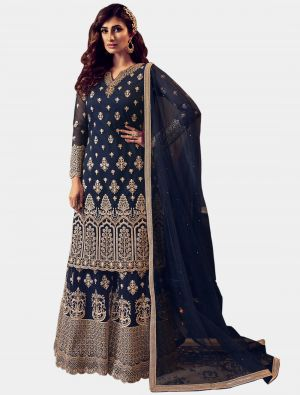Navy Blue Net Sharara Suit with Dupatta small FABSL20200