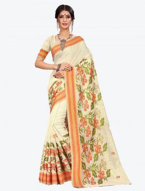 Off-White Cotton Designer Saree small FABSA20605
