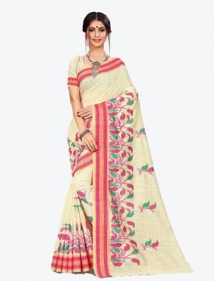 Off-White Cotton Designer Saree small FABSA20607