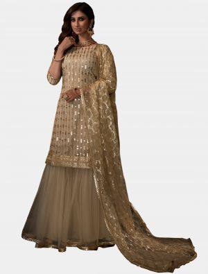 Off-White Net Sharara Suit with Dupatta small FABSL20188