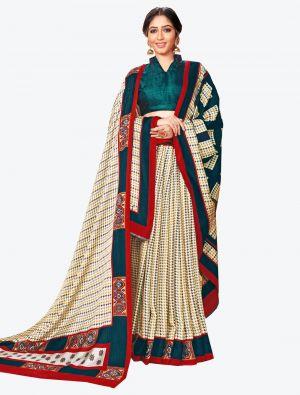 Off-White Pashmina Designer Saree small FABSA20595