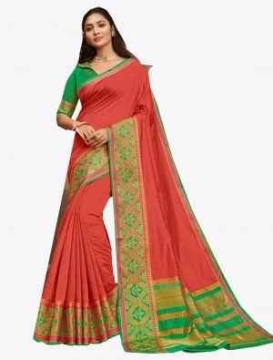 Old Rose Pink Khadi Silk Designer Saree small FABSA20573