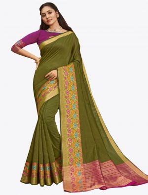 Olive Green Khadi Silk Designer Saree small FABSA20570