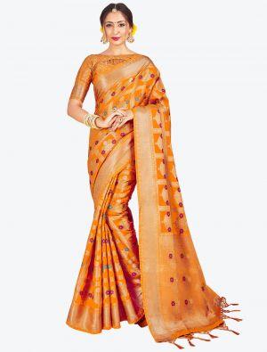 Orange Banarasi Art Silk Designer Saree small FABSA20557