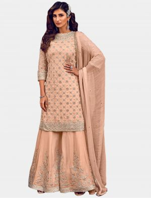 Peach Georgette Sharara Suit with Dupatta small FABSL20206