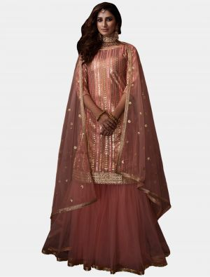 Peach Net Sharara Suit with Dupatta small FABSL20182