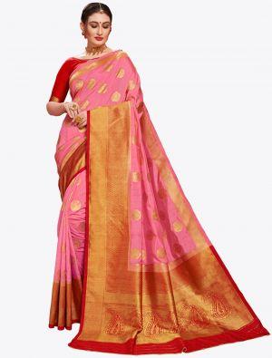 Pink Banarasi Art Silk Designer Saree small FABSA20562