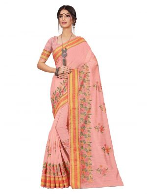 Pink Cotton Designer Saree small FABSA20604