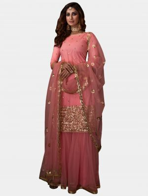 Pink Net Sharara Suit with Dupatta small FABSL20184