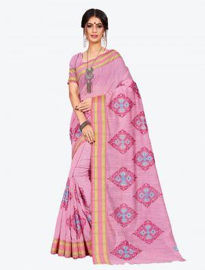 Powder Pink Cotton Designer Saree small FABSA20606