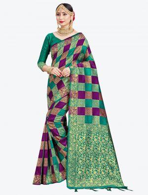 Purple and Sea Green Banarasi Art Silk Designer Saree small FABSA20544