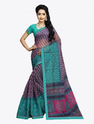 Purple Kota Silk Designer Saree small FABSA20613