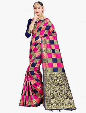 Rani Pink and Navy Blue Banarasi Art Silk Designer Saree small FABSA20541