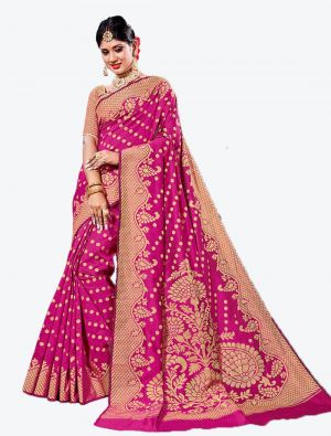 Rani Pink Handloom Cotton Designer Saree small FABSA20624