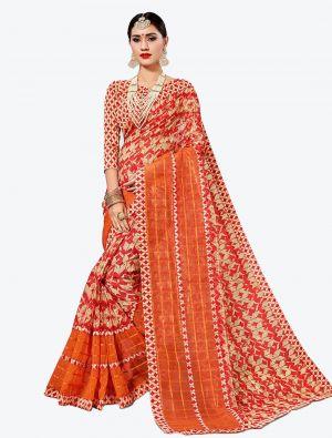 Red and Cream Kota Silk Designer Saree small FABSA20627