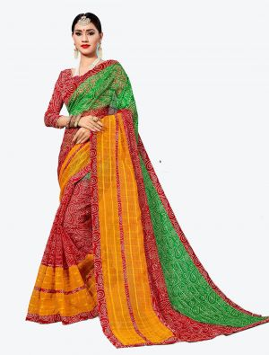 Red and Green Kota Silk Designer Saree small FABSA20629