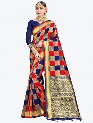 Red and Navy Blue Banarasi Art Silk Designer Saree small FABSA20543