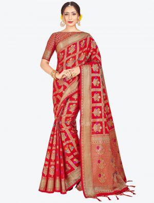Red Banarasi Art Silk Designer Saree small FABSA20556