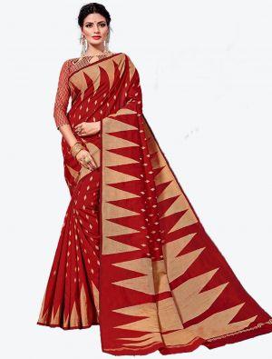 Red Handloom Cotton Designer Saree small FABSA20622