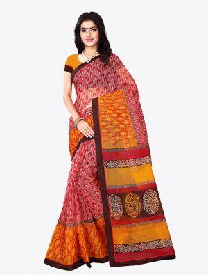 Red Kota Silk Designer Saree small FABSA20614