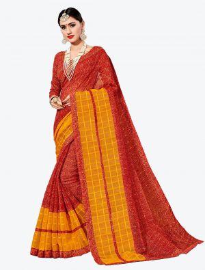 Red Kota Silk Designer Saree small FABSA20633
