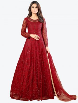 Red Net Floor Length Suit with Dupatta small FABSL20181