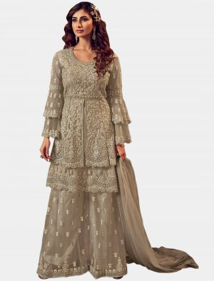 Sand Grey Net Sharara Suit with Dupatta small FABSL20207